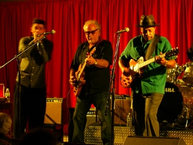 (L-R) Bob Corritore, Bob Margolin & John Primer at Project Blues Review 2014